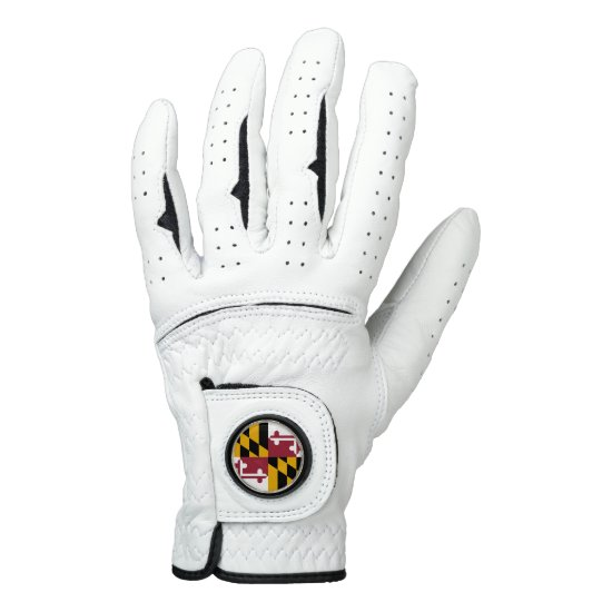 Leather Golf Glove with Flag of Maryland, USA