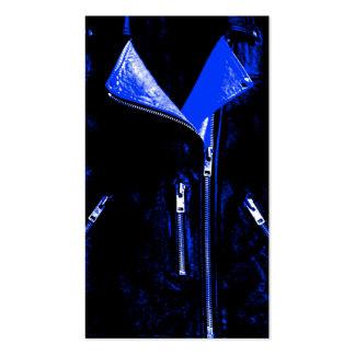 Leather Jacket Blue business card black