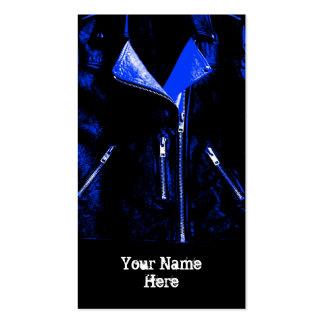 Leather Jacket Blue business card black portrait