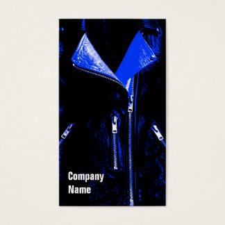 Leather Jacket Blue business card black side text