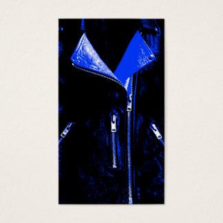 Leather Jacket Blue business card blue