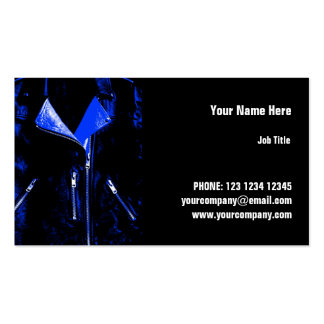 Leather Jacket Blue business card horizontal