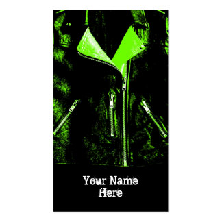 Leather Jacket Green business card black portrait