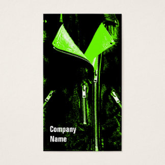 Leather Jacket Green business card black side text