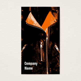 Leather Jacket Orange black side text Business Card
