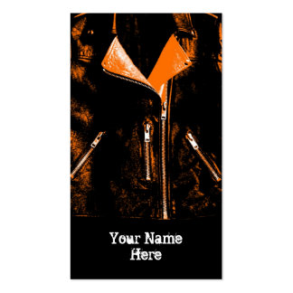 Leather Jacket Orange business card black portrait