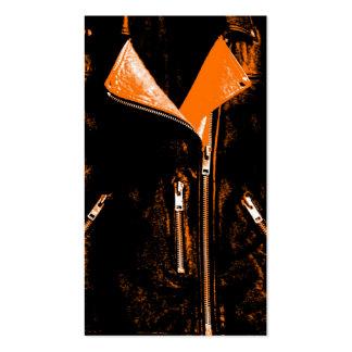 Leather Jacket Orange business card orange