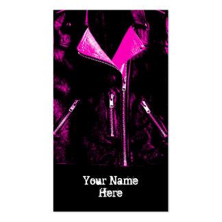 Leather Jacket Pink business card black portrait