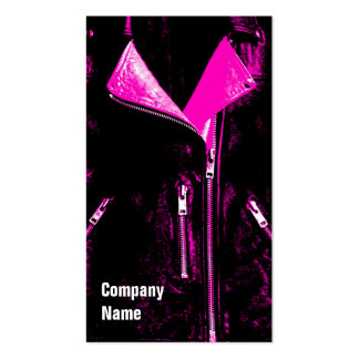 Leather Jacket Pink business card black side text