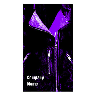 Leather Jacket Purple black side text Double-Sided Standard Business Cards (Pack Of 100)