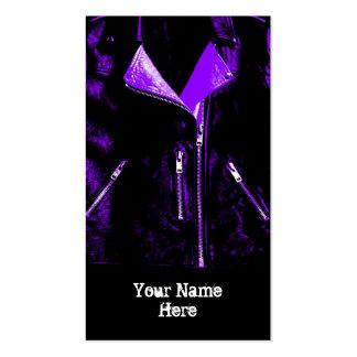 Leather Jacket Purple business card black portrait