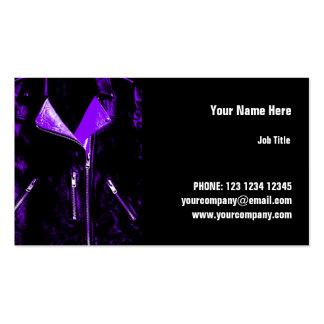 Leather Jacket Purple business card horizontal