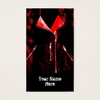 Leather Jacket Red business card black portrait