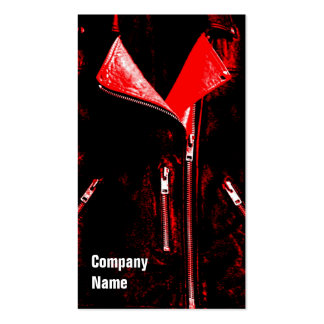 Leather Jacket Red business card black side text
