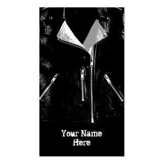Leather Jacket White business card black portrait