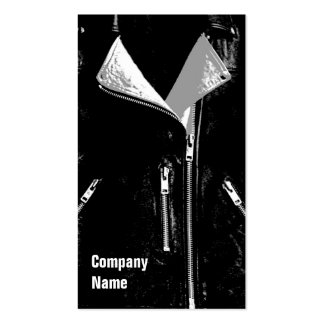 Leather Jacket White business card black side text