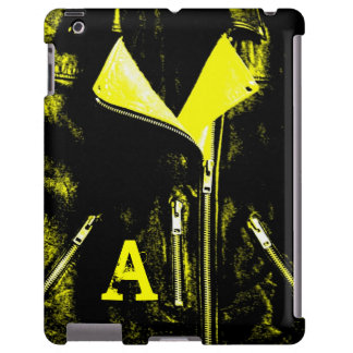 """Leather Jacket Yellow """"monogram"""" iPad case"""