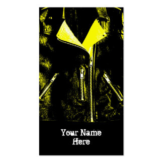Leather Jacket Yellow 'Name' business card black