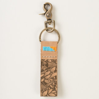 Leather Keychain Grunge Art Floral Abstract