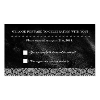 Leather Lace Metal Studs RSVP Reception card Business Card
