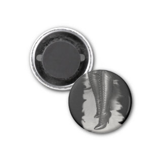 Leather Lace Up Boots 1 Inch Round Magnet
