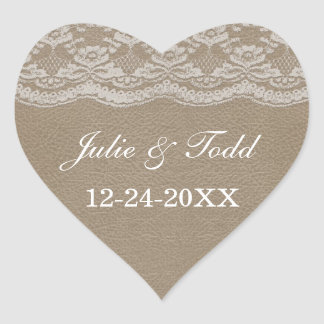 Leather & Lace Wedding Save The Date Heart Sticker
