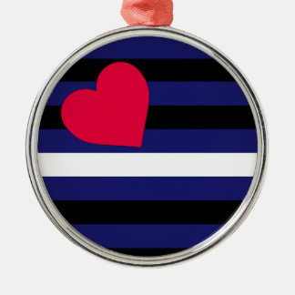Leather Latex and BDSM Pride Flag Round Metal Christmas Ornament