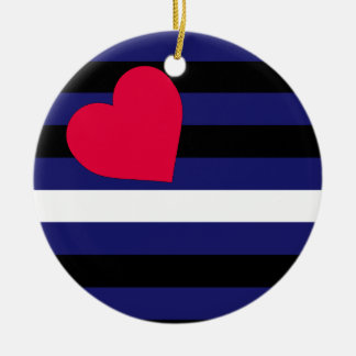 Leather Latex and BDSM Pride Flag Double-Sided Ceramic Round Christmas Ornament