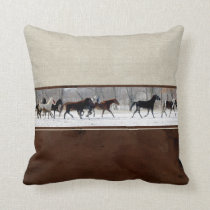 Leather, Linen, and Horses Decorator Accent Pillow
