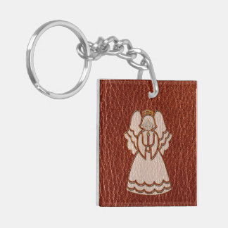 Leather-Look Angel Red Double-Sided Square Acrylic Keychain