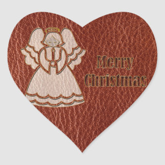 Leather-Look Angel Red Heart Sticker
