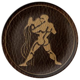 Leather-Look Aquarius Dinner Plate