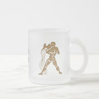 Leather-Look Aquarius Frosted Glass Coffee Mug