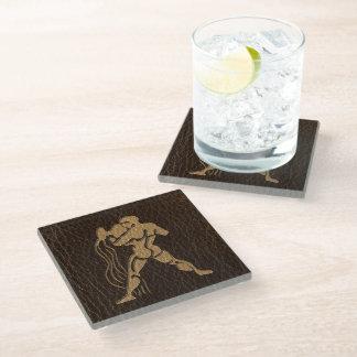 Leather-Look Aquarius Glass Coaster