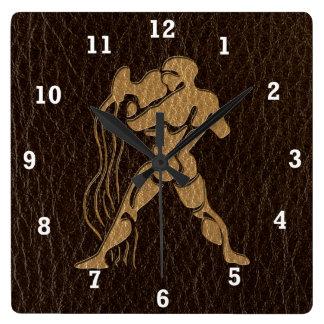 Leather-Look Aquarius Square Wall Clock