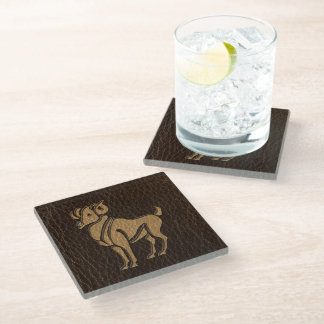 Leather-Look Aries Glass Coaster