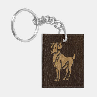 Leather-Look Aries Keychain