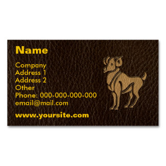 Leather-Look Aries Magnetic Business Card