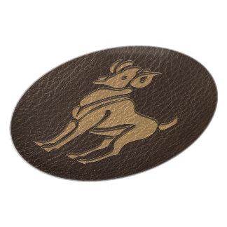 Leather-Look Aries Melamine Plate