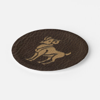 Leather-Look Aries Paper Plate