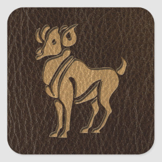 Leather-Look Aries Square Sticker