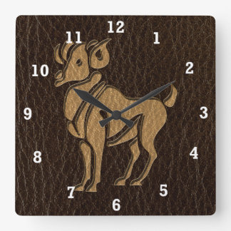 Leather-Look Aries Square Wall Clock