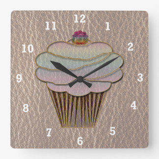 Leather-Look Baking Soft Square Wall Clock