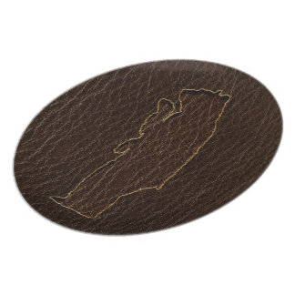 Leather-Look Black Bear Dark Dinner Plate