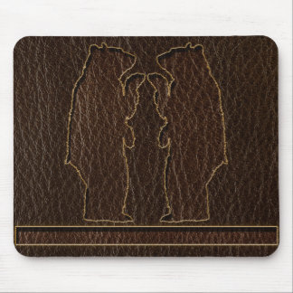 Leather-Look Black Bear Dark Mouse Pad