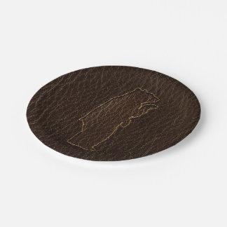 Leather-Look Black Bear Dark Paper Plate