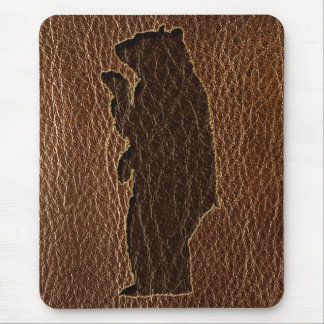 Leather-Look Black Bear Mouse Pad