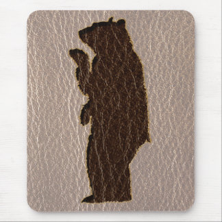 Leather-Look Black Bear Soft Mouse Pad