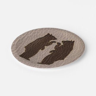 Leather-Look Black Bear Soft Paper Plate