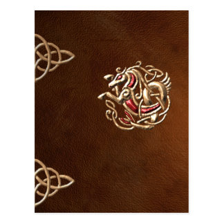 Leather-look book with gold celtic seahorse postcard